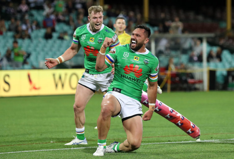 Jordan Rapana of the Raiders scores a try, which was then disallowed by the video referee during the NRL Semi Final