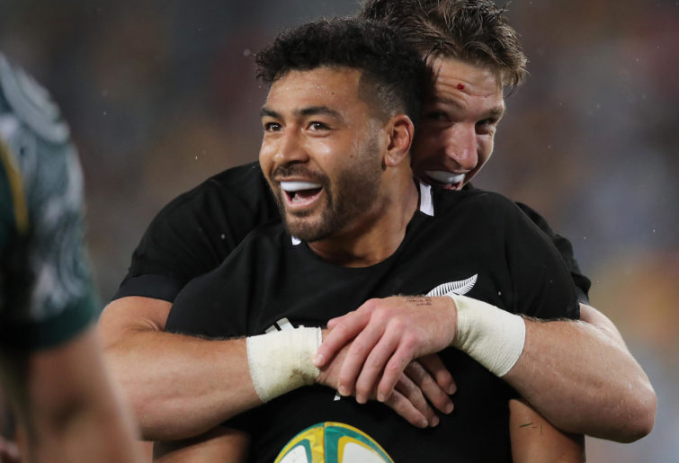 Richie Mo'unga of the All Blacks celebrates scoring a try during the 2020 Tri-Nations and Bledisloe Cup match