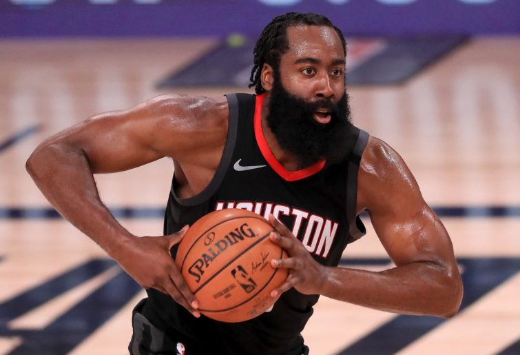 James Harden holds the ball
