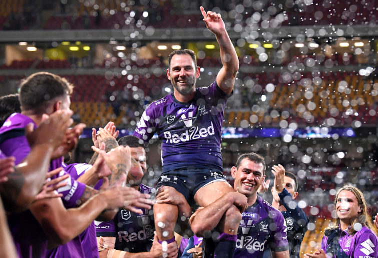 Cameron Smith of the Storm is chaired from the field