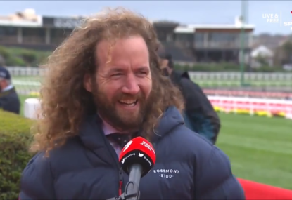 Cox Plate trainer hilariously forgets he doesn't have any sisters mid-tribute