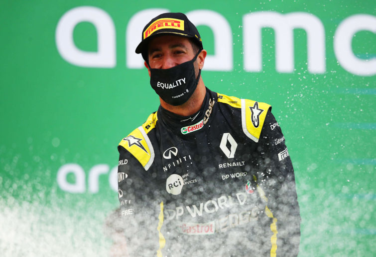 Daniel Ricciardo of Australia and Renault Sport F1 celebrates on the podium