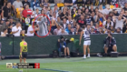 Fan's hilariously horrific attempt to kick the ball back to waiting Cats player
