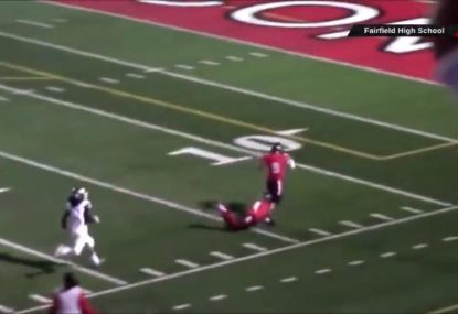 High school footballer goes viral for desperate chasedown tackle... on own teammate