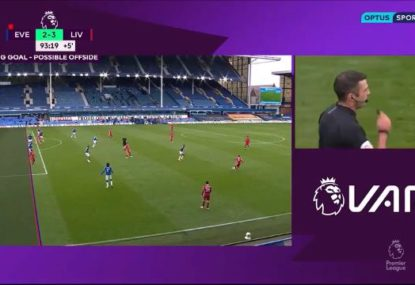 Merseyside Derby ends in massive controversy as highly dubious offside costs Liverpool victory