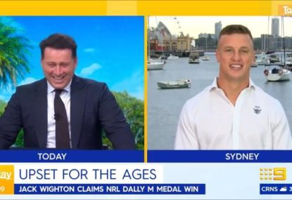 Jack Wighton's post-Dally M Maccas run reveal leaves Karl Stefanovic in stitches