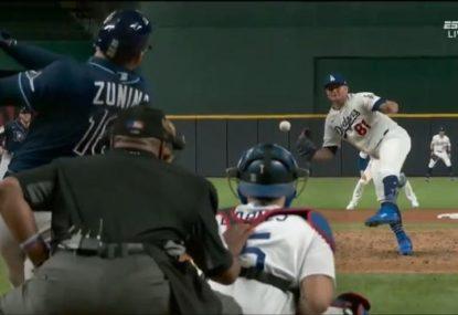 Pitcher's Matrix-level reflexes pull off catch of 170 kph ball