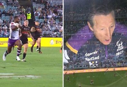 Craig Bellamy's hilariously joyful reaction to Suliasi Vunivalu's spectacular try