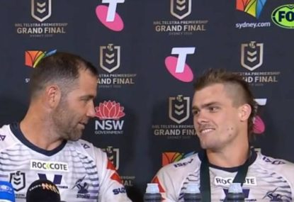 Awesome moment when Cam Smith discovers his young teammate made Origin