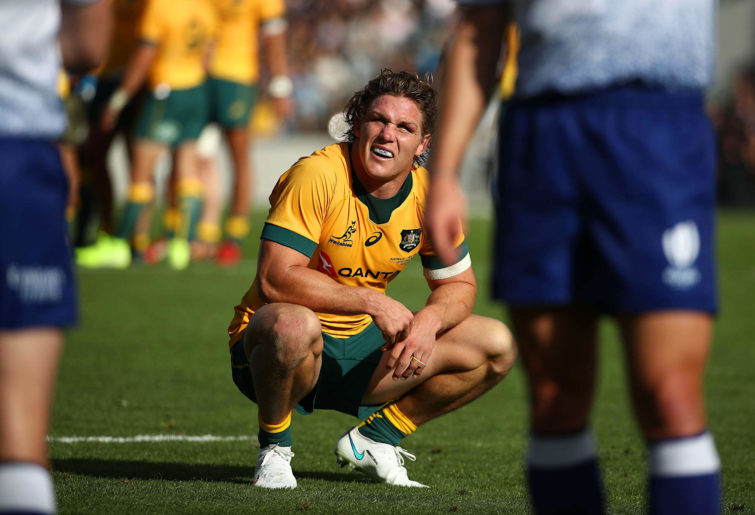 Michael Hooper of the Wallabies waits for a TMO decision