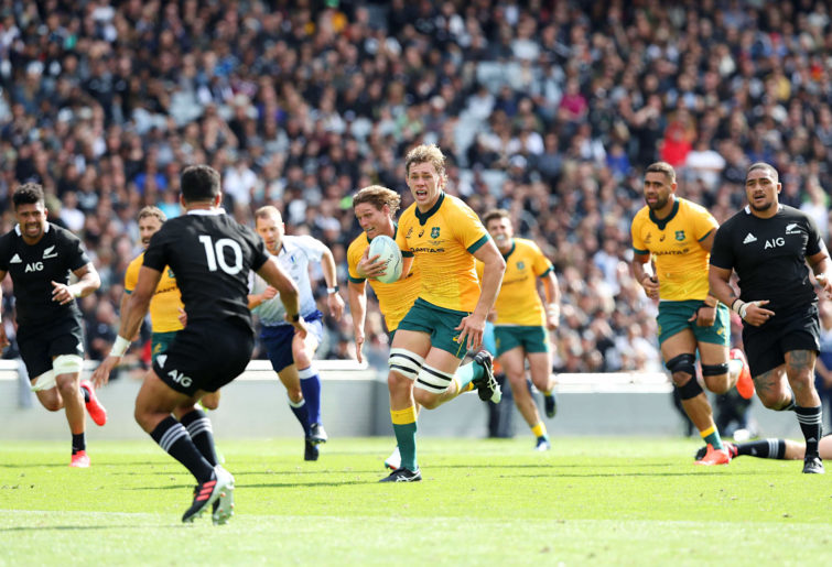 Ned Hanigan of the Wallabies makes a break