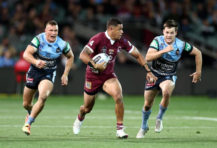Dane Gagai of the Maroons makes a break