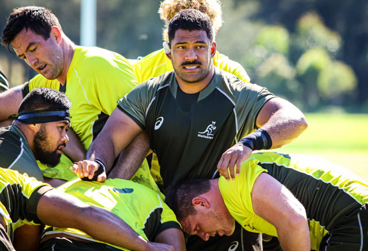 Scott Sio of the Wallabies in a pack at training