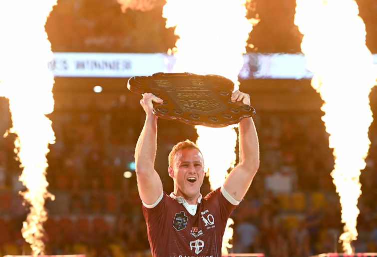 Daly Cherry-Evans of the Maroons celebrates victory