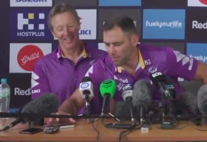 Cam Smith deals with journo accidentally phoning into Storm press conference