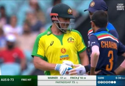 Aaron Finch gets ribbed for his weight after copping full toss right to the box