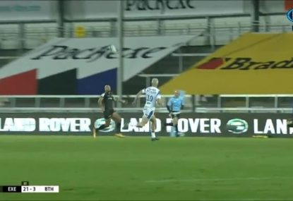 Winger drops jaws with absolutely bonkers mid-air volley into try