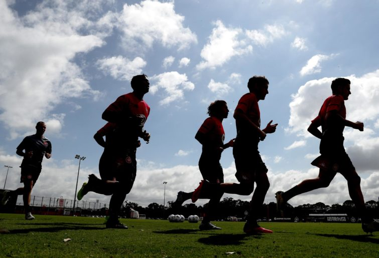 Silhouettes of the Western Sydney Wanderers training