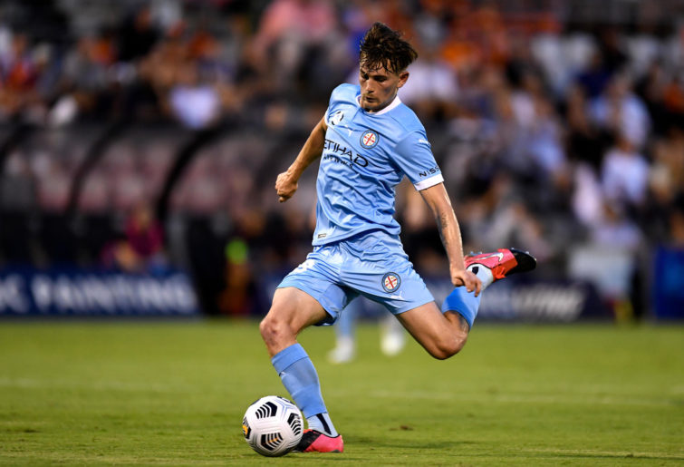 Connor Metcalfe of Melbourne City shoots during the A-League