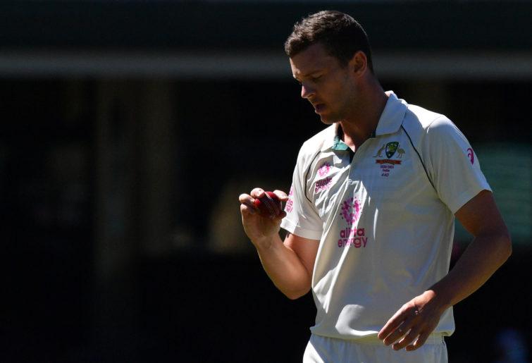 Australia's Josh Hazlewood prepares to bowl on the fourth day of the third cricket Test