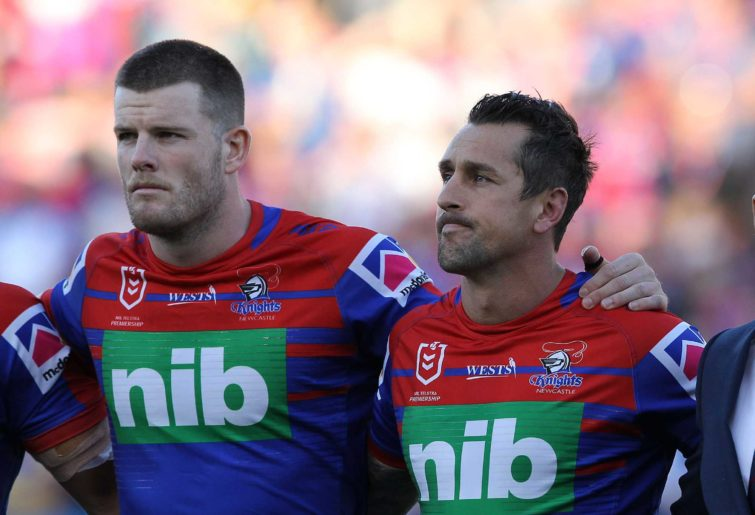 Mitchell Pearce and Lachlan Fitzgibbon of the Knights