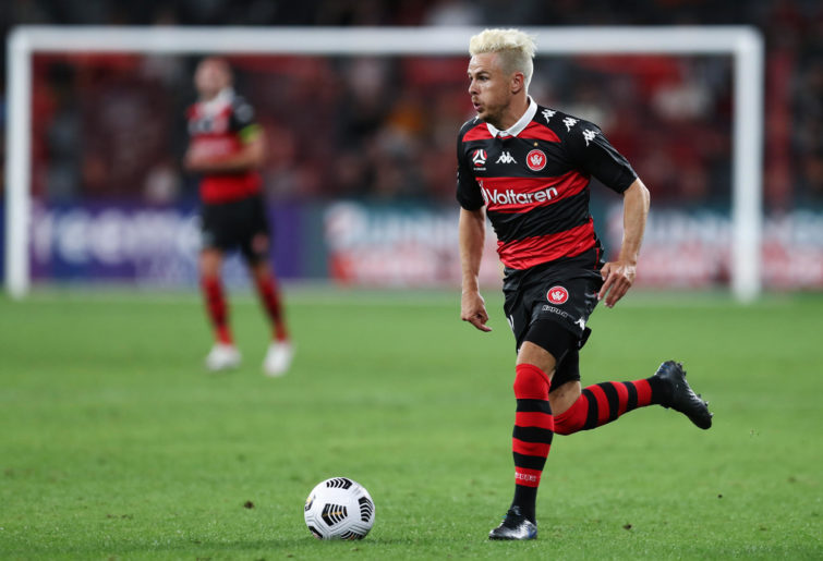 Nicolai Muller of the Wanderers controls the ball