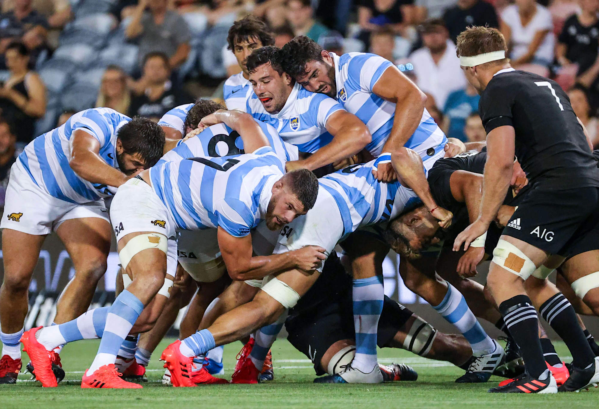 Argentina players push against New Zealand players in a maul