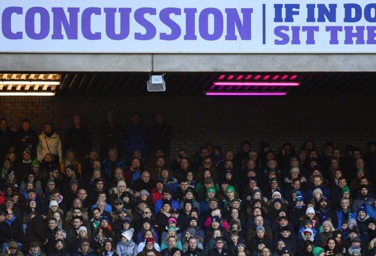 A concussion advert during th Six Nations Rugby Championship