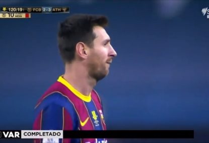 The ugly incident that saw Lionel Messi cop his first ever red card for Barcelona