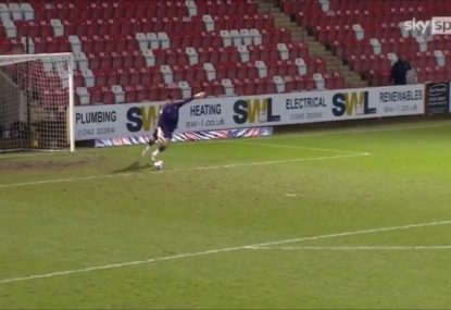 Keeper's absurdly nonchalant reaction to scoring phenomenal goal... off a goal kick!