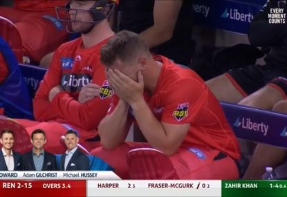 Aaron Finch's heartbreaking reaction to his latest brutally unlucky dismissal