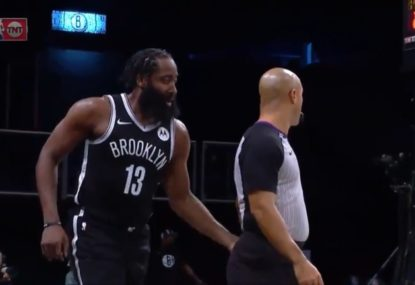 James Harden's cheeky celebration with ref after bucket