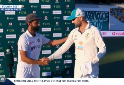 Ajinkya Rahane's touching gift for Nathan Lyon after 100th Test