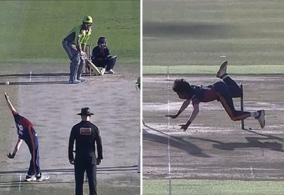 The weirdest bowling action in cricket history ends exactly as you'd expect