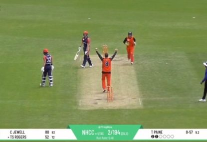 WATCH: Tim Paine opens the bowling and takes a wicket in Tasmanian cricket