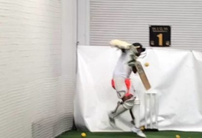 Teenager facing 160kph bowling machine ends exactly as you'd think
