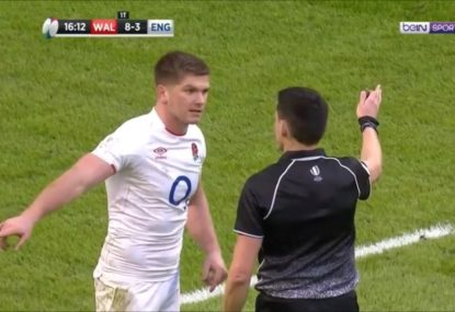 Owen Farrell goes off at ref after upholding seriously controversial Wales try