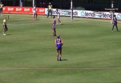 Latest man-on-the-mark 50m penalty from AFL scratch match has fans in uproar