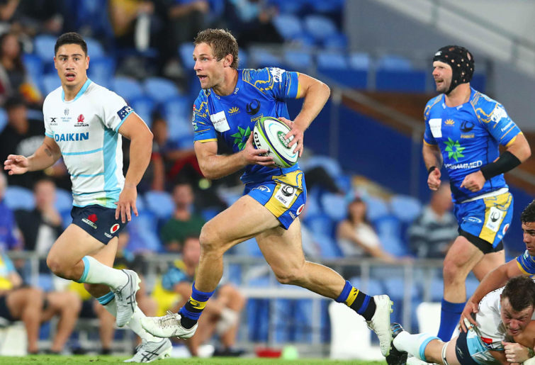 Kyle Godwin of the Western Force runs with the ball