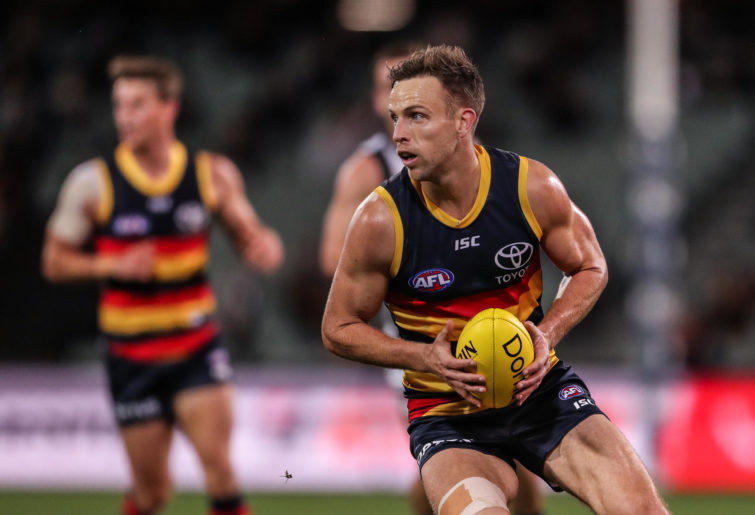 Brodie Smith of the Crows in action