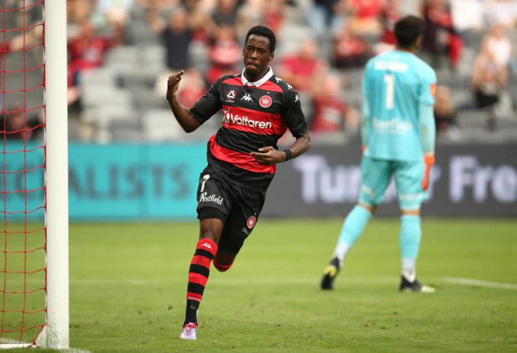 Bruce Kamau of the Wanderers celebrates after scoring a goal