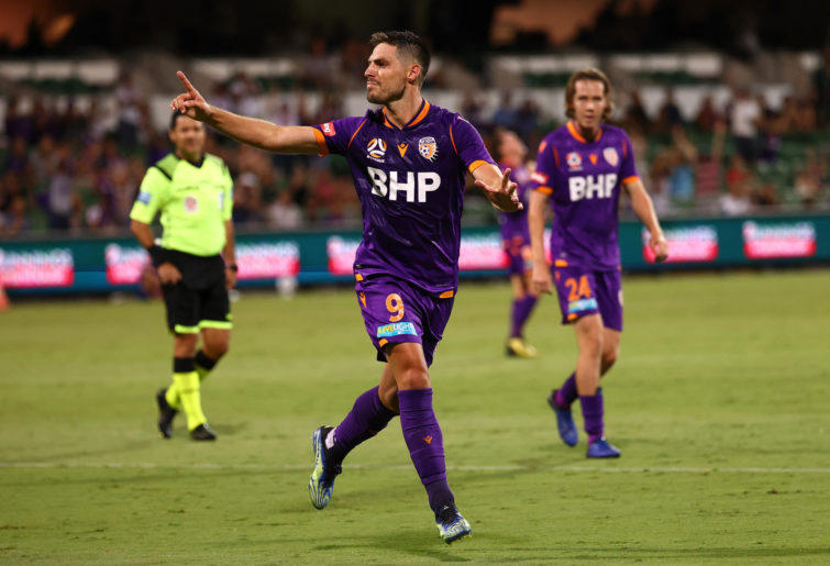 Bruno Fornaroli of the Glory celebrates a goal during the A-League