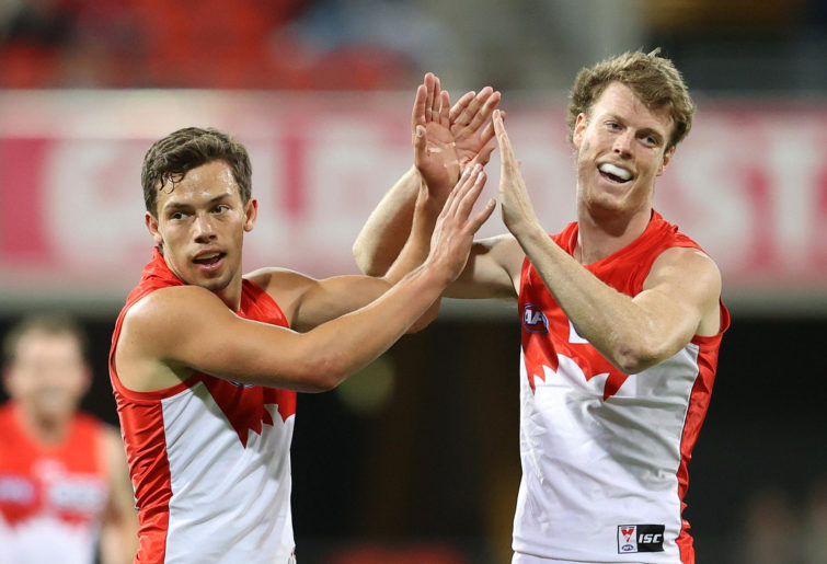 Oliver Florent and Nick Blakey of the Sydney Swans