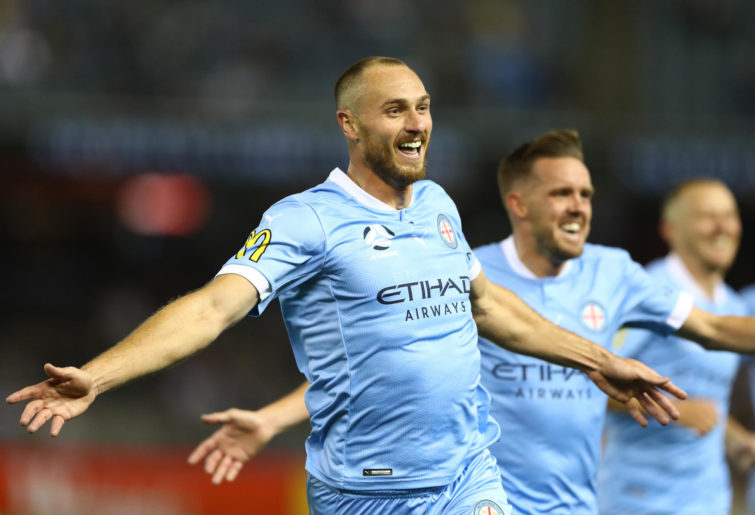 Rostyn Griffiths of Melbourne City celebrates after scoring a goal