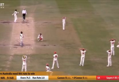 The dramatic final ball of a Shield thriller between SA and WA