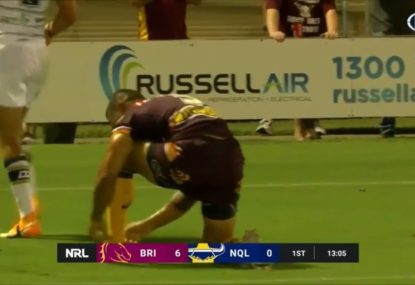 New Bronco's hilariously nonchalant celebration after scratch match try