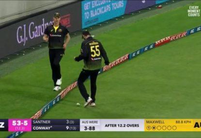 Aussie quicks go full village cricket with hysterical fielding howler