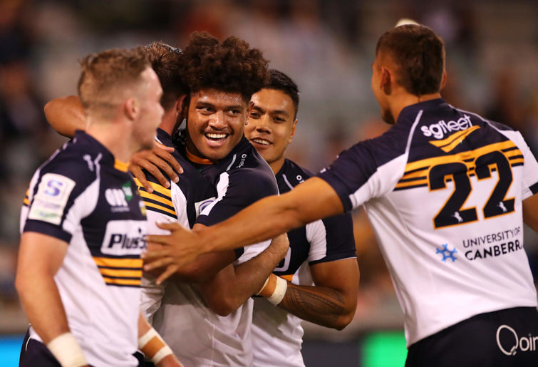 Rob Valetini of the Brumbies celebrates with teammates