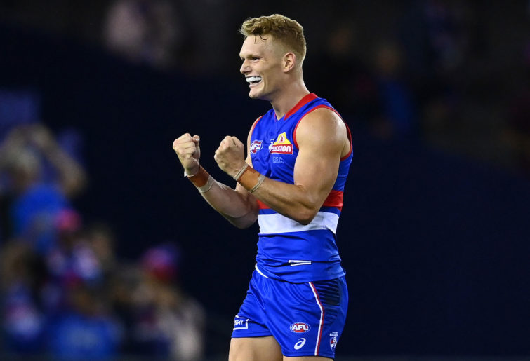 Adam Treloar of the Bulldogs celebrates
