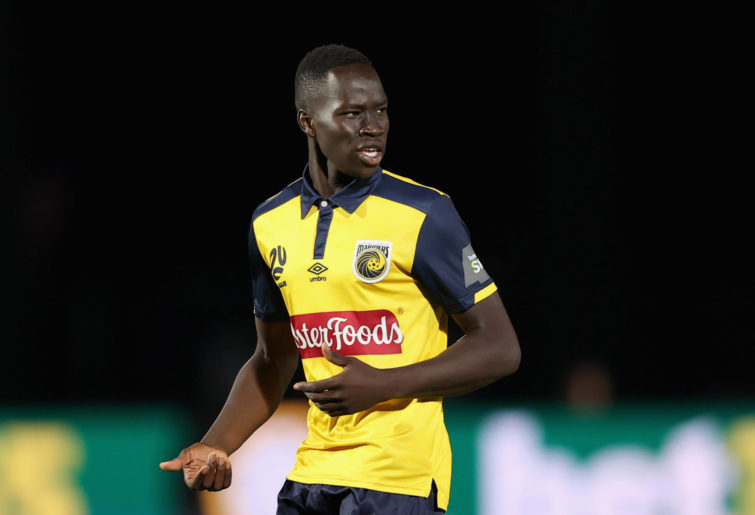 Alou Kuol of the Mariners reacts during the A-League